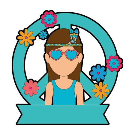 Hippie woman cartoon icon vector illustration graphic design Illustration