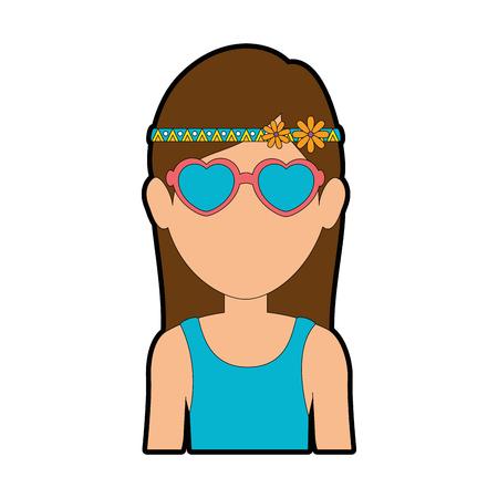 Hippie woman cartoon icon vector illustration graphic design Ilustrace