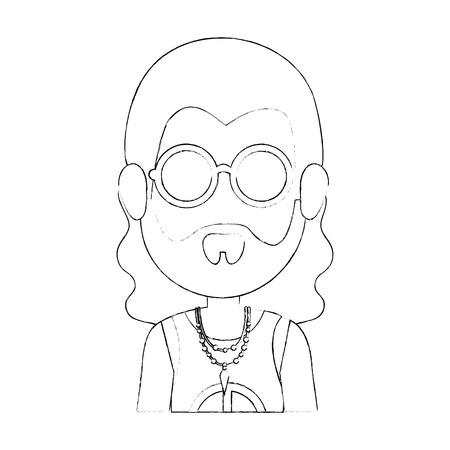 Hippie man cartoon icon vector illustration graphic design
