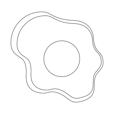 揚げ卵アイコン白背景ベクトル イラスト