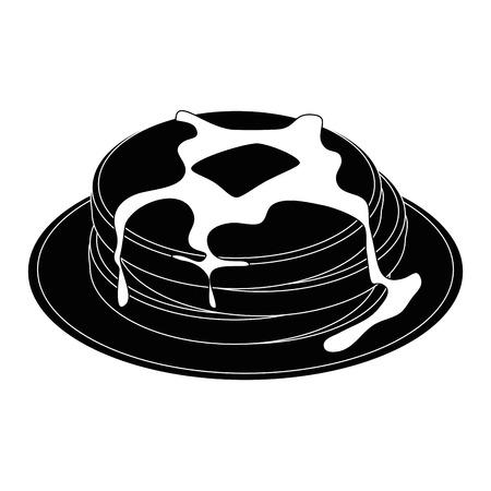팬케이크 아이콘이있는 플레이트 일러스트