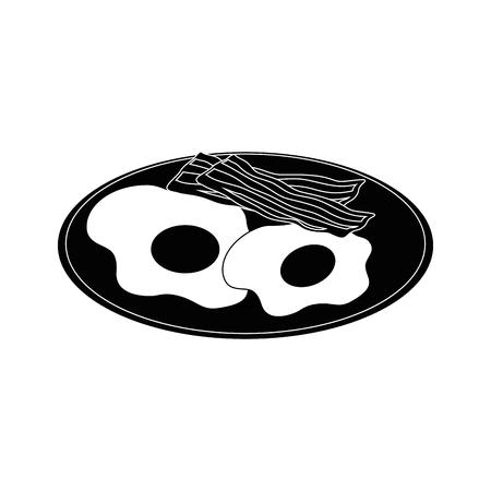 白い背景のベクトル図に卵とベーコンのアイコンとプレート  イラスト・ベクター素材