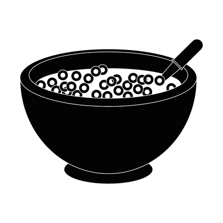 cereal bowl icon over white background vector illustration Çizim