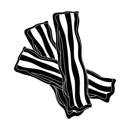 bacon strepen pictogram over witte achtergrond vectorillustratie