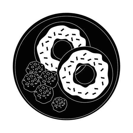 クッキーと甘いドーナツ アイコン白背景ベクトル イラスト上皿します。
