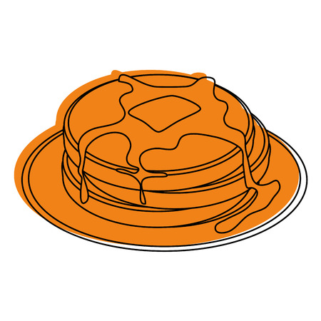 Plate with pancakes icon over white background vector illustration Ilustracja
