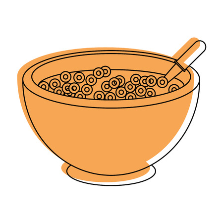 Cereal bowl icon over white background vector illustration