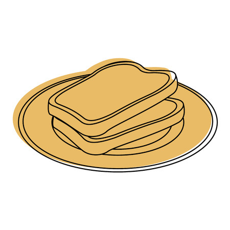 bakery products: Loaf and butter icon over white background vector illustration