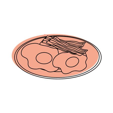 Plaat met ei en bacon pictogram over witte achtergrond vectorillustratie Stock Illustratie