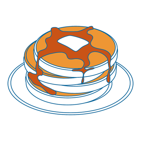 Plate with pancakes icon over white background vector illustration Ilustração
