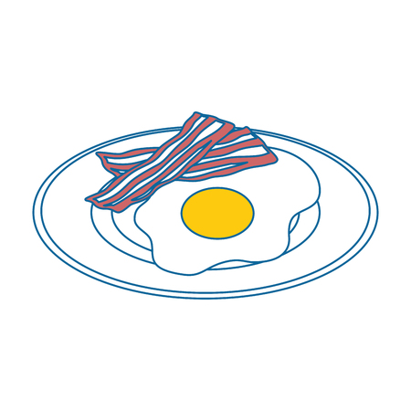 Plate with egg and bacon icon over white background vector illustration Çizim