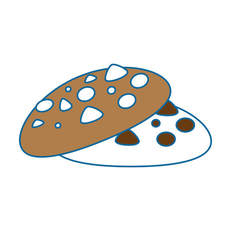 Chocolate chips cookie icon over white background vector illustration.