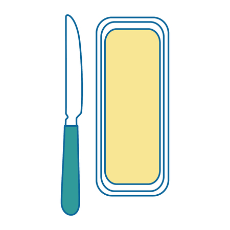 Un'icona della barra e del coltello di burro sopra l'illustrazione bianca di vettore del fondo. Archivio Fotografico - 83818945