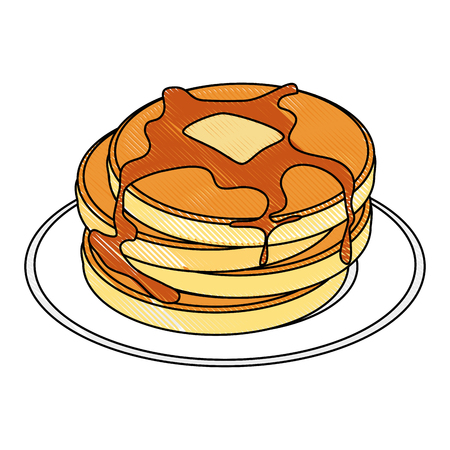 plate with pancakes icon over white background vector illustration Reklamní fotografie - 83819074