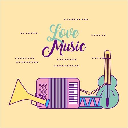 liefde klassieke achtergrondmuziek pictogram vector illustratie ontwerp grafisch Stock Illustratie