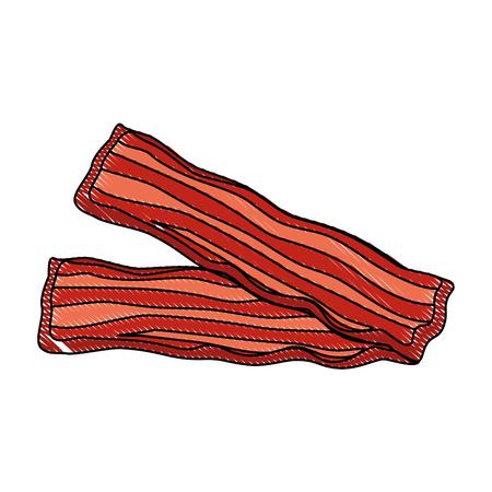 bacon stripes icon over white background vector illustration Ilustração