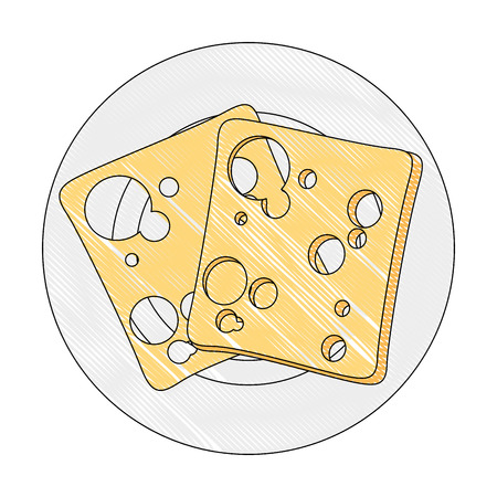白い背景のベクトル図以上のチーズ スライス食品