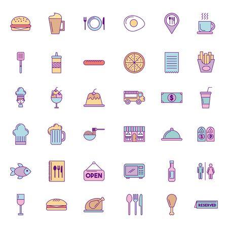 Icon set delicious fast food icon vector illustration design graphic