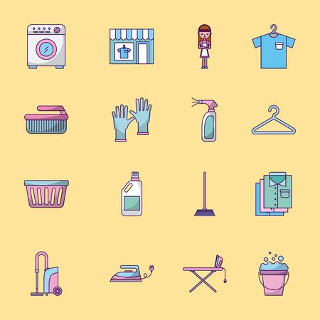 Icon set laundry cleaning delicate vector illustration design graphic Stock Vector - 83819260