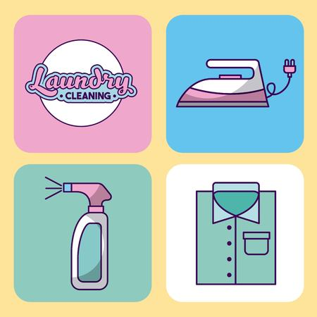 launderette: Icon set laundry cleaning delicate vector illustration design graphic