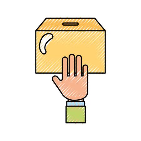 urn 벡터 일러스트와 함께 인간의 손에 디자인 일러스트