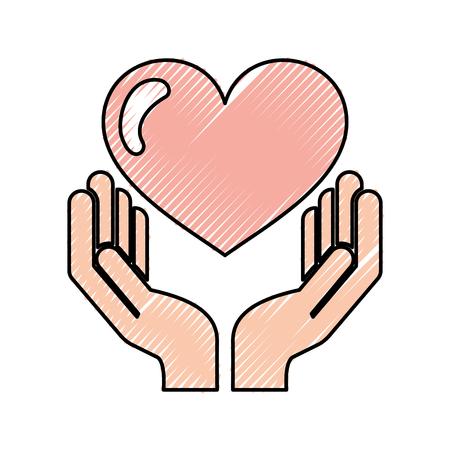 handmens met ontwerp van de hartliefde het vectorillustratie