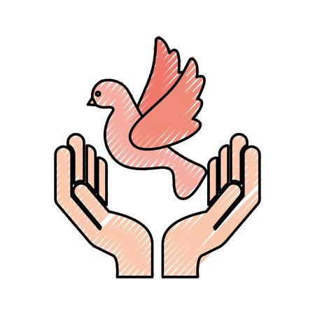 hands human with dove vector illustration design Çizim