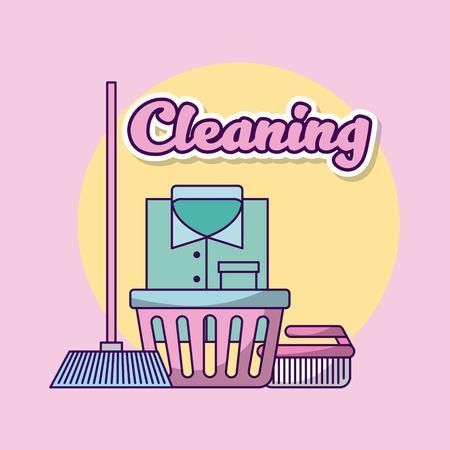 Wasserette schoonmaak kleren pictogram vector illsutration ontwerp afbeelding