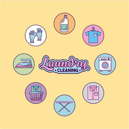 icon set laundry cleaning delicate vector illustration design graphic