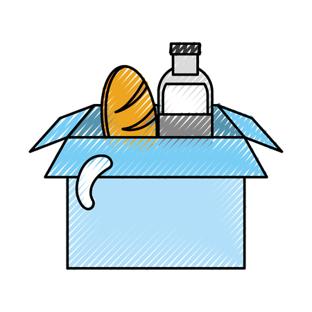 box with milk bottle and bread vector illustration design