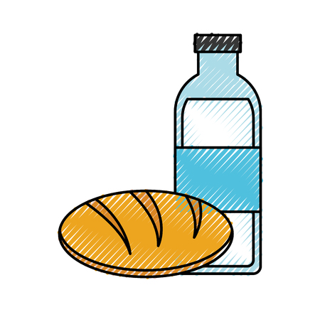 milk bottle and bread vector illustration design 向量圖像