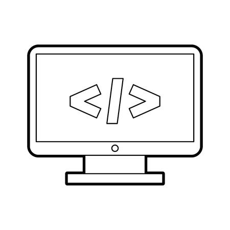 Escritorio de la computadora con el diseño de ilustración de vector de lenguaje de programación Foto de archivo - 83819213