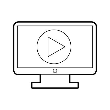 再生ボタン ベクトル イラスト デザインとコンピューターのデスクトップ  イラスト・ベクター素材