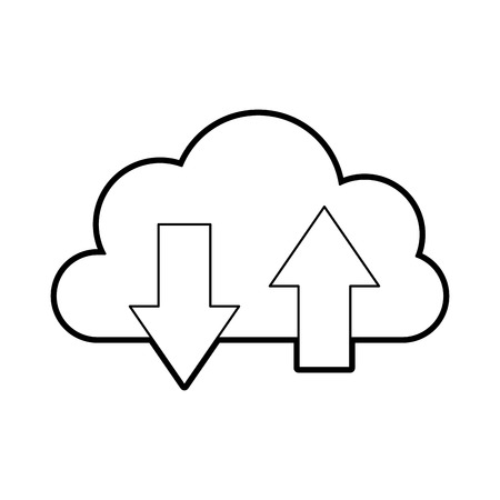cloud computing with arrows vector illustration design Çizim
