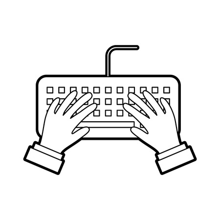 user with computer keyboard isolated icon vector illustration design