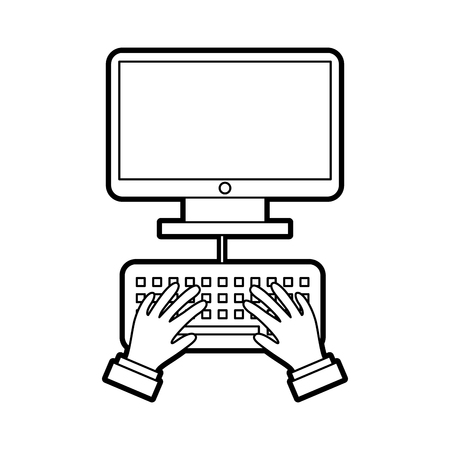 user with computer desktop isolated icon vector illustration design