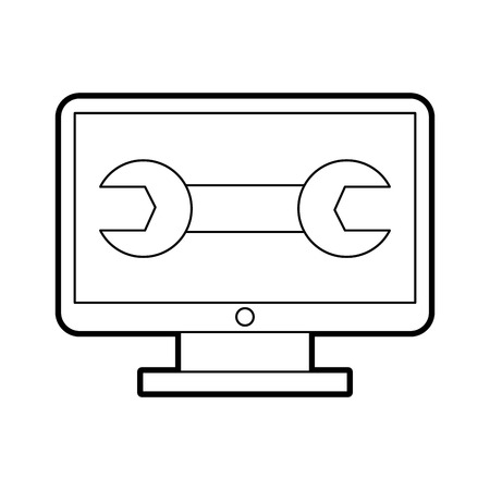computer desktop with wrench vector illustration design Illustration