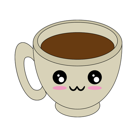 kawaii coffee mug icon over white background vector illustration