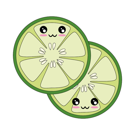 kawaii cucumber slice icon over white background vector illustration