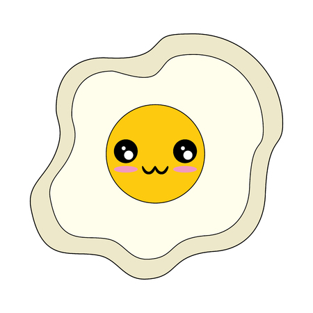 kawaii fried egg icon over white background vector illustration