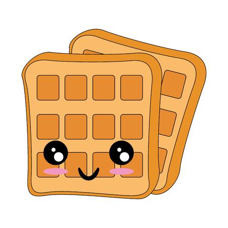 kawaii waffles icon over white background vector illustration Illustration