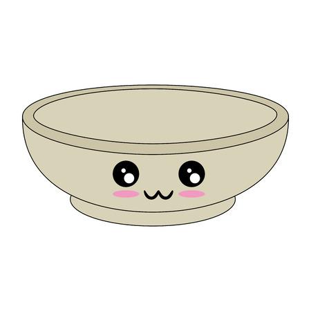 흰색 배경 벡터 일러스트 레이 션을 통해 kawaii 그릇 아이콘