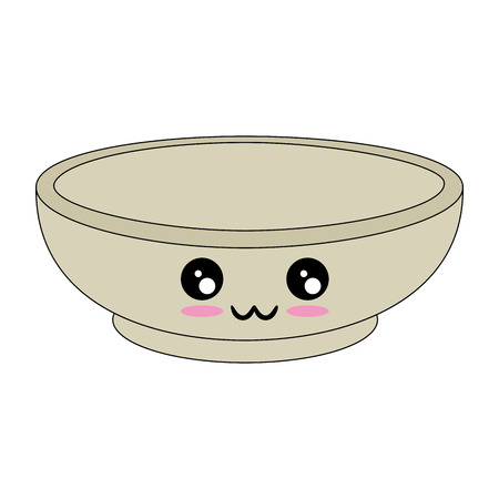 kawaii bowl icon over white background vector illustration Çizim