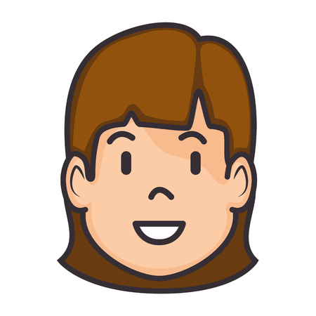 Cartoon womans face icon vector illustration