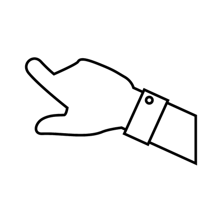 Human hand pointing icon over white background vector illustration Çizim