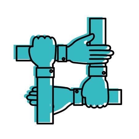 손을 팀웍 기호 아이콘 벡터 일러스트 그래픽 디자인 일러스트