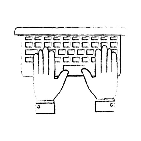 Laptop computer icon over white background vector illustration