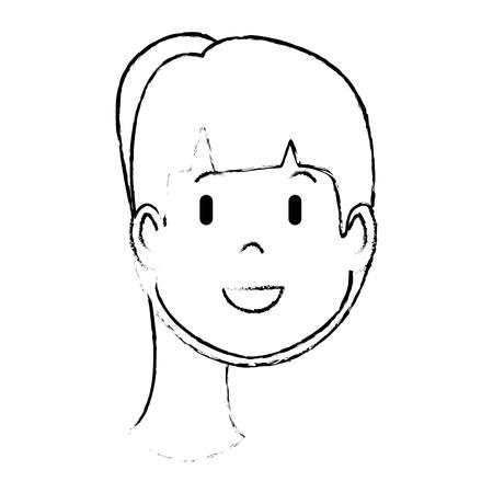 만화 여자 얼굴 아이콘을 흰색 배경 벡터 일러스트 레이 션