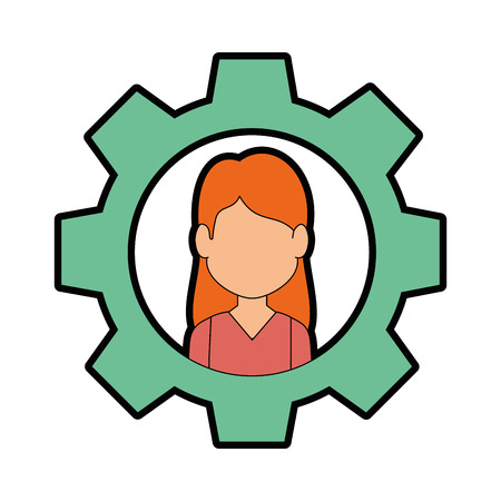 Gear with woman face icon over white background vector illustration