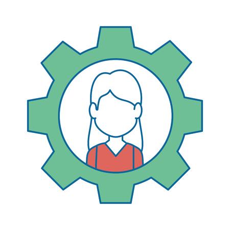 Person inside gear icon vector illustration graphic design Illustration